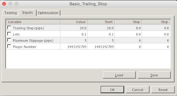 Basic Trailing Stop Inputs